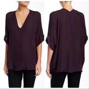 Vince | Double V Neck Silk Caftan Blouse